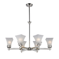 Z-Lite Pershing 6 Light Chandelier in Polished Nickel with White Watermark Glass 319-6