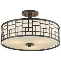 Elea 3 Light 16 inch Bronze Semi Flush Mount Ceiling Light