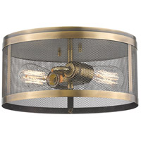 Z-Lite 331F12-NB Meshsmith 2 Light 12 inch Natural Brass Flush Mount Ceiling Light