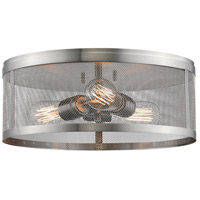 Z-Lite 331F14-BN Meshsmith 3 Light 15 inch Brushed Nickel Flush Mount Ceiling Light