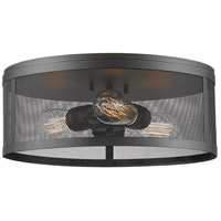Meshsmith 3 Light 15 inch Bronze Flush Mount Ceiling Light