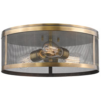 Meshsmith 3 Light 15 inch Natural Brass Flush Mount Ceiling Light