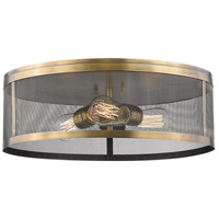 Z-Lite 331F18-NB Meshsmith 3 Light 18 inch Natural Brass Flush Mount Ceiling Light