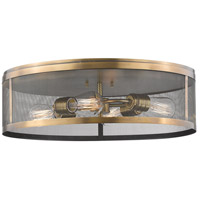 Z-Lite 331F21-NB Meshsmith 4 Light 21 inch Natural Brass Flush Mount Ceiling Light