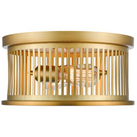 Camellia 2 Light 13 inch Brass Flush Mount Ceiling Light