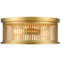 Camellia 3 Light 16 inch Brass Flush Mount Ceiling Light