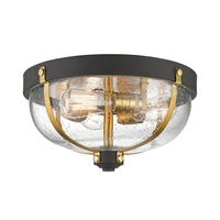 Burren 3 Light 15 inch Bronze and Brass Flush Mount Ceiling Light
