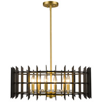 Z-Lite 338-24MB+SBR Haake 6 Light 24 inch Satin Brass Pendant Ceiling Light