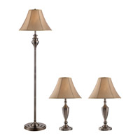 Z-Lite Portable Lamps 1 Light Floor & Table Lamps - 3 Pack in Satin Nickel with White Shade 3P18
