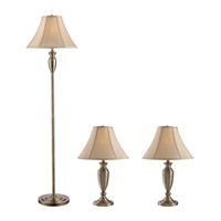 Z-Lite Portable Lamps 1 Light Floor & Table Lamps - 3 Pack in Antique Brass with Crme Shade 3P20