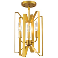 Z-Lite Marsala 3 Light Semi Flush Mount in Polished Metallic Gold 4000SF-PMG