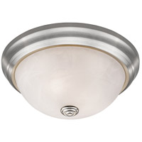 Athena 2 Light 11 inch Brushed Nickel Flush Mount Ceiling Light in Alabaster