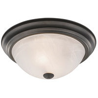 Athena 2 Light 11 inch Bronze Flush Mount Ceiling Light in Alabaster