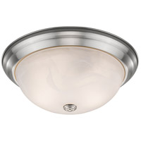 Athena 2 Light 13 inch Brushed Nickel Flush Mount Ceiling Light in Alabaster