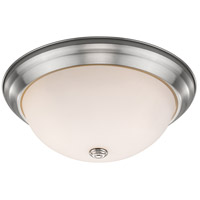 Athena 2 Light 13 inch Brushed Nickel Flush Mount Ceiling Light in Frosted