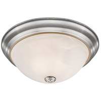 Athena 3 Light 15 inch Brushed Nickel Flush Mount Ceiling Light in Alabaster