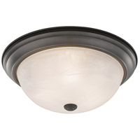Athena 3 Light 15 inch Bronze Flush Mount Ceiling Light in Alabaster