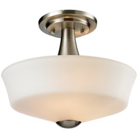 Montego 2 Light 12 inch Brushed Nickel Semi Flush Mount Ceiling Light