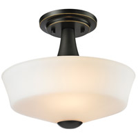 Montego 2 Light 12 inch Coppery Bronze Semi Flush Mount Ceiling Light