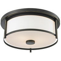 Z-Lite 413F14 Savannah 2 Light 14 inch Olde Bronze Flush Mount Ceiling Light
