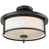 Z-Lite Savannah 2 Light Semi Flush Mount in Olde Bronze 413SF14