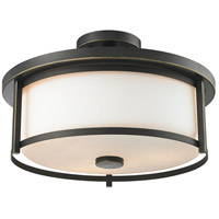 Z-Lite Savannah 3 Light Semi Flush Mount in Olde Bronze 413SF16