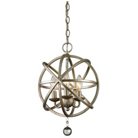Z-Lite Acadia 3 Light Pendant in Antique Silver and Clear Crystal 415-12