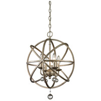 Z-Lite Acadia 4 Light Pendant in Antique Silver and Clear Crystal 415-16