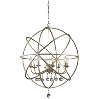 Z-Lite Acadia 8 Light Pendant in Antique Silver and Clear Crystal 415-30