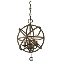 Z-Lite Acadia 3 Light Pendant in Golden Bronze and Clear Crystal 416-12