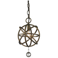 Z-Lite Acadia 1 Light Mini Pendant in Golden Bronze and Clear Crystal 416-8