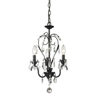 Princess 3 Light 13 inch Gloss Black Mini Chandelier Ceiling Light