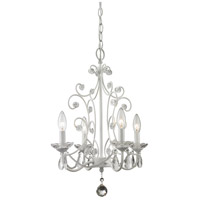 Z-Lite 419WH Princess Chandeliers 4 Light 15 inch Gloss White Mini Chandelier Ceiling Light