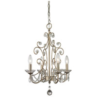 Z-Lite 420AS Princess Chandeliers 4 Light 15 inch Antique Silver Mini Chandelier Ceiling Light