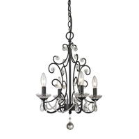 Z-Lite 421BK Princess 4 Light 15 inch Gloss Black Mini Chandelier Ceiling Light