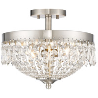Danza 3 Light 13 inch Brushed Nickel Semi Flush Mount Ceiling Light