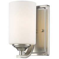 Z-Lite Bordeaux 1 Light Wall Sconce in Brushed Nickel with Matte Opal Glass Shade 435-1S-BN