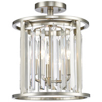 Monarch 3 Light 12 inch Brushed Nickel Semi Flush Mount Ceiling Light