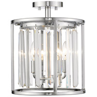 Monarch 3 Light 12 inch Chrome Semi Flush Mount Ceiling Light