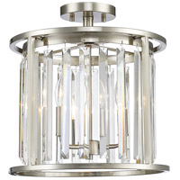Monarch 3 Light 14 inch Brushed Nickel Semi Flush Mount Ceiling Light