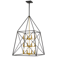 Z-Lite 447-12MB-OBR Trestle 12 Light 24 inch Matte Black and Olde Brass Chandelier Ceiling Light