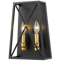 Z-Lite 447-2S-MB-OBR Trestle 2 Light 8 inch Matte Black and Olde Brass Wall Sconce Wall Light in 3