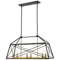 Z-Lite 447-36MB-OBR Trestle 6 Light 12 inch Matte Black and Olde Brass Chandelier Ceiling Light