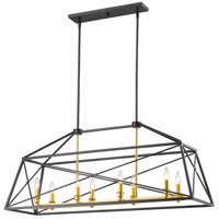 Z-Lite 447-44BZGD Trestle 8 Light 12 inch Bronze Gold Pendant Ceiling Light in 12.00