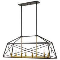 Z-Lite 447-44MB-OBR Trestle 8 Light 12 inch Matte Black and Olde Brass Chandelier Ceiling Light