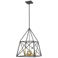 Z-Lite 447-4MB-OBR Trestle 4 Light 16 inch Matte Black and Olde Brass Chandelier Ceiling Light