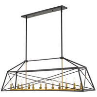 Z-Lite 447-56MB-OBR Trestle 12 Light 12 inch Matte Black and Olde Brass Chandelier Ceiling Light