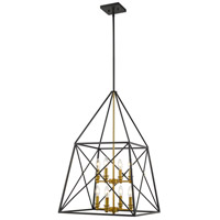 Z-Lite 447-8MB-OBR Trestle 8 Light 20 inch Matte Black and Olde Brass Chandelier Ceiling Light