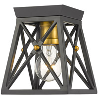 Z-Lite 447F1-MB-OBR Trestle 1 Light 6 inch Matte Black and Olde Brass Flush Mount Ceiling Light