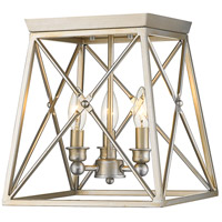Trestle 3 Light 11 inch Antique Silver Flush Mount Ceiling Light